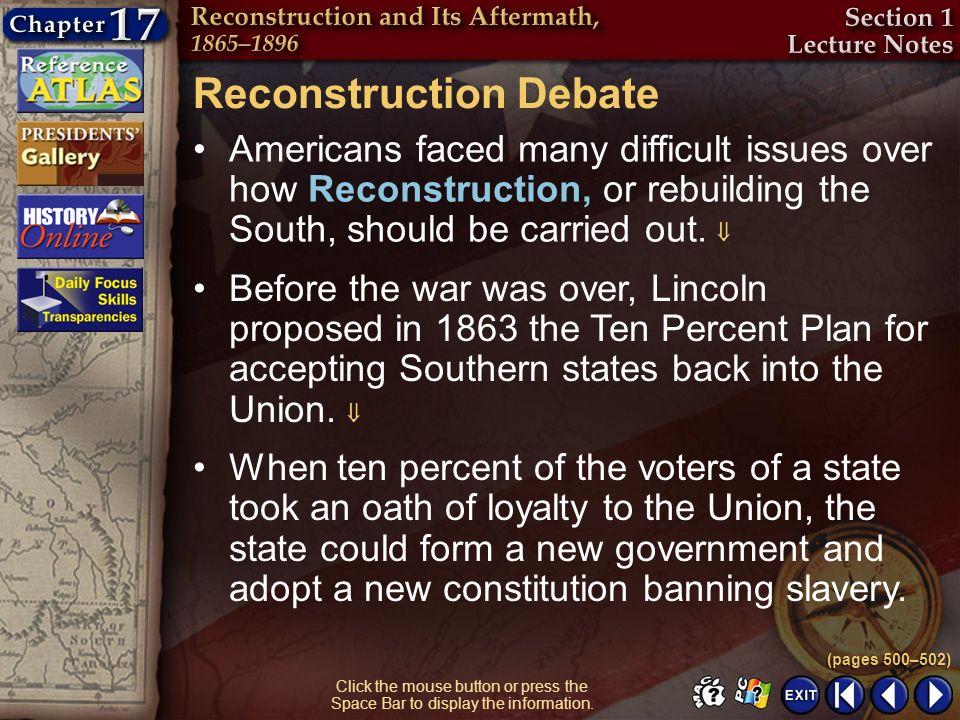 Reconstruction Debate