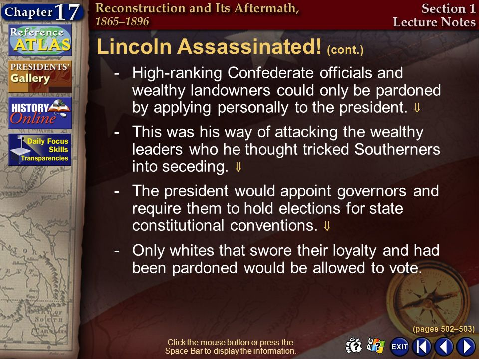 Lincoln Assassinated! (cont.)