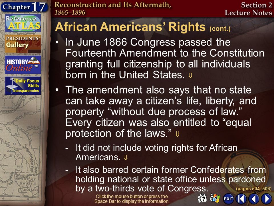 African Americans' Rights (cont.)