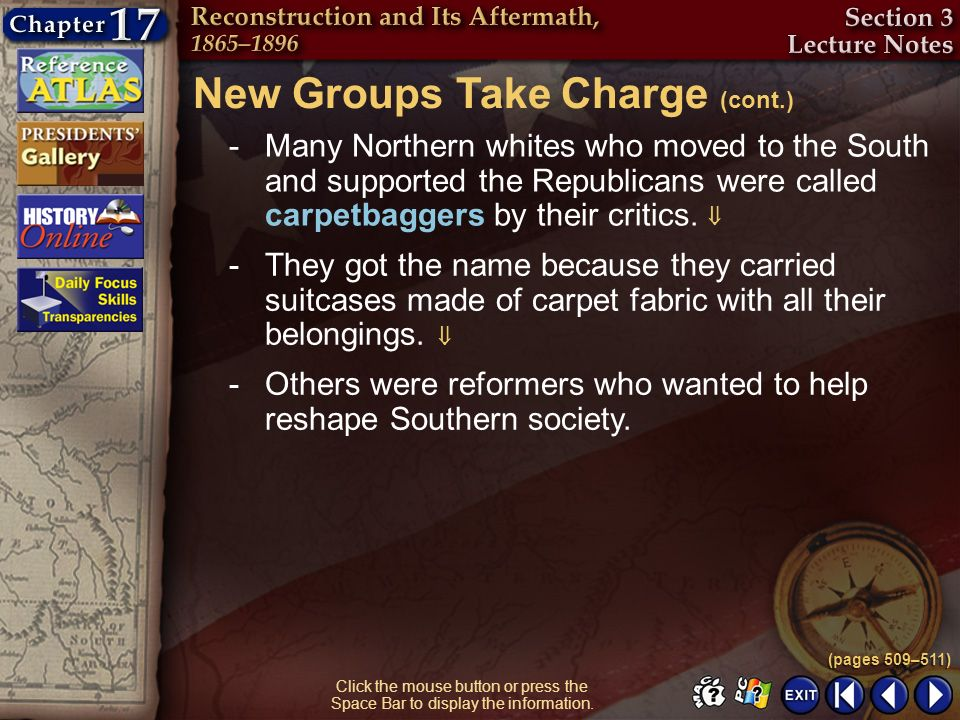 New Groups Take Charge (cont.)