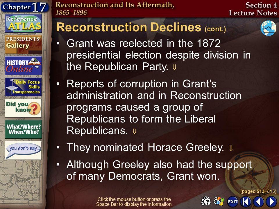 Reconstruction Declines (cont.)