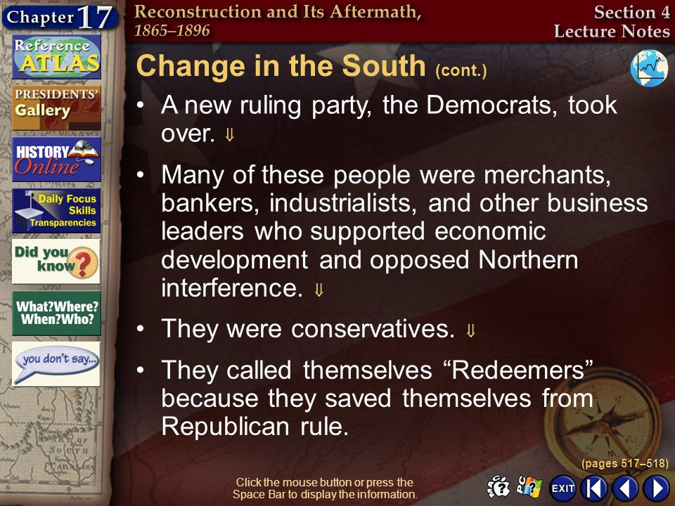 Change in the South (cont.)