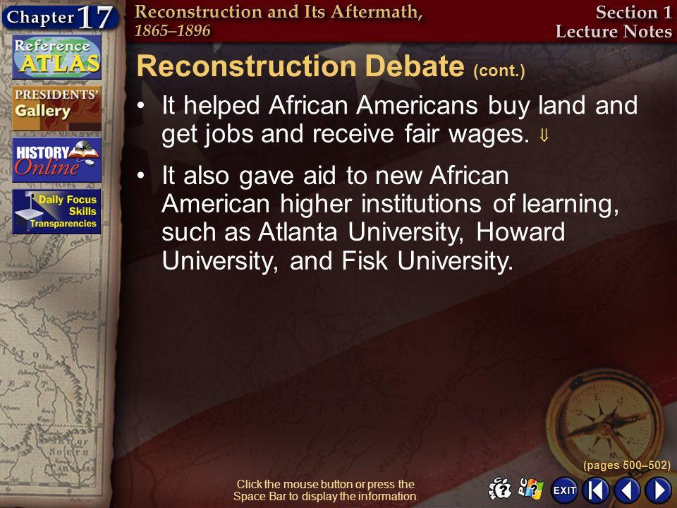 Reconstruction Debate (cont.)