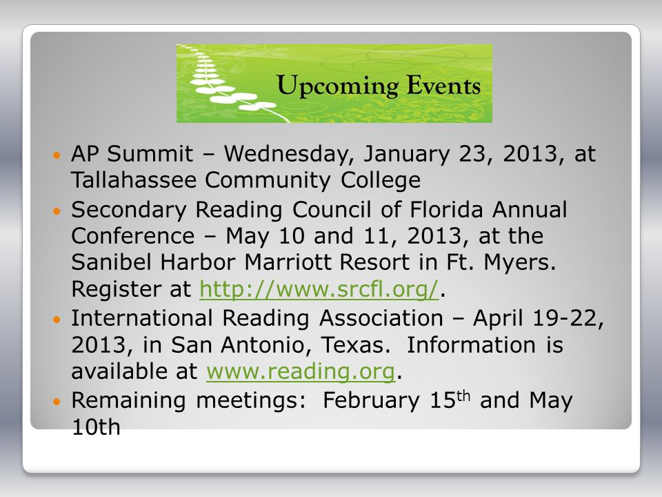 AP Summit – Wednesday, January 23, 2013, at Tallahassee Community College