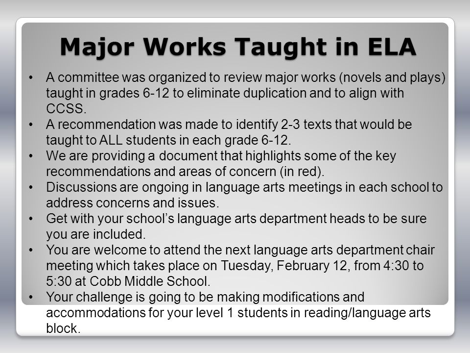 Major Works Taught in ELA