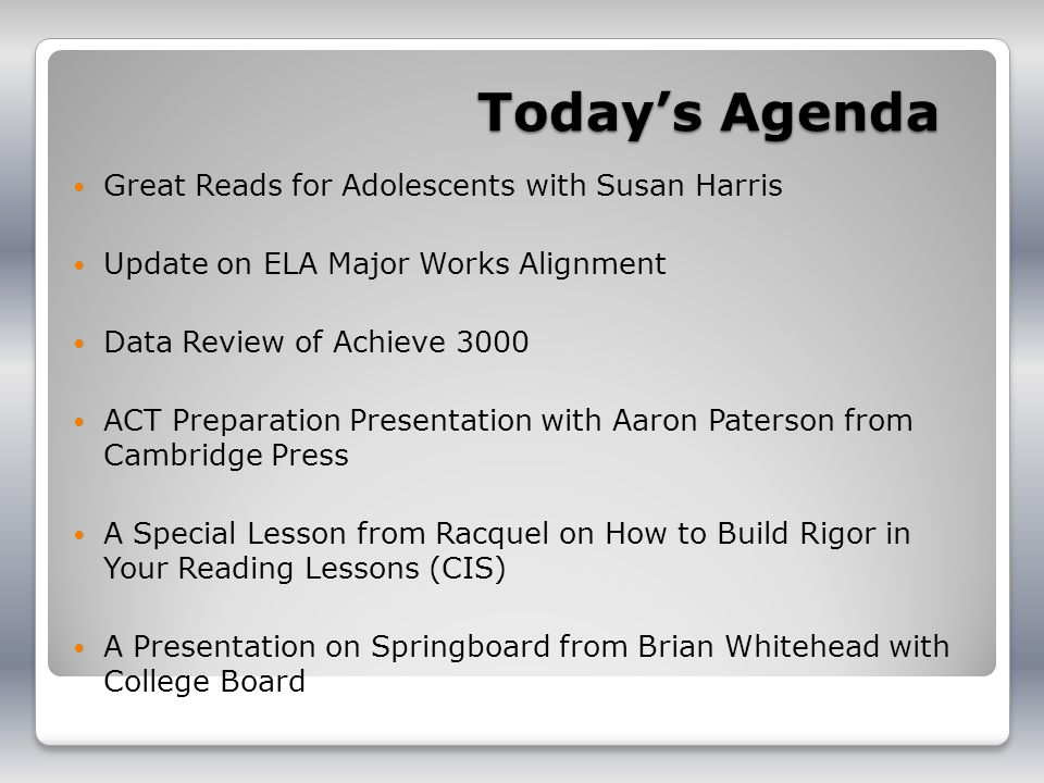 Today's Agenda Great Reads for Adolescents with Susan Harris
