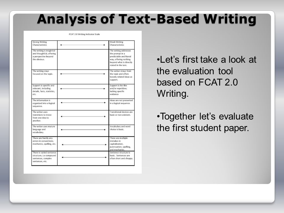 Analysis of Text-Based Writing