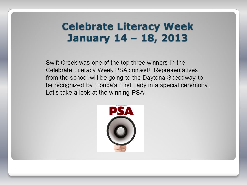 Celebrate Literacy Week January 14 – 18, 2013