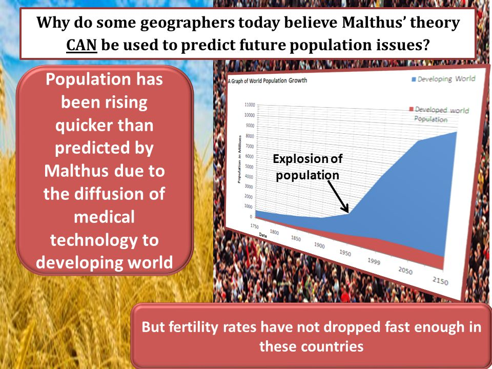 neo malthusian theory can be used as Malthusianism is the idea that population growth is potentially exponential while  the growth of  neo-malthusians differ from malthus's theories mainly in their  enthusiasm for contraception  to be effective on a wide scale, thus advocating  the use of artificial means of birth control as a solution to population pressure.