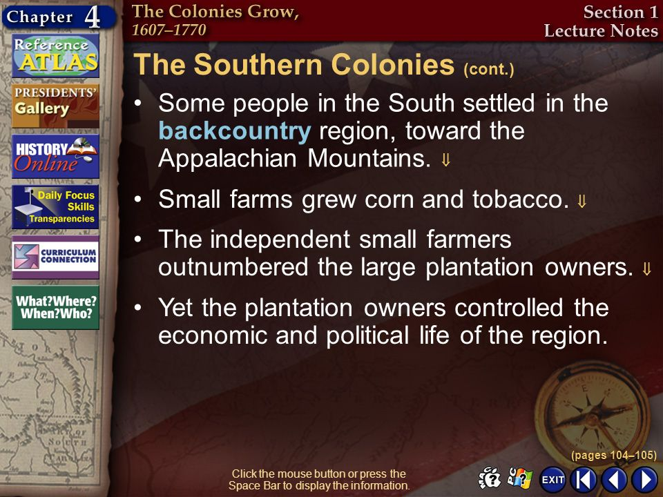 The Southern Colonies (cont.)