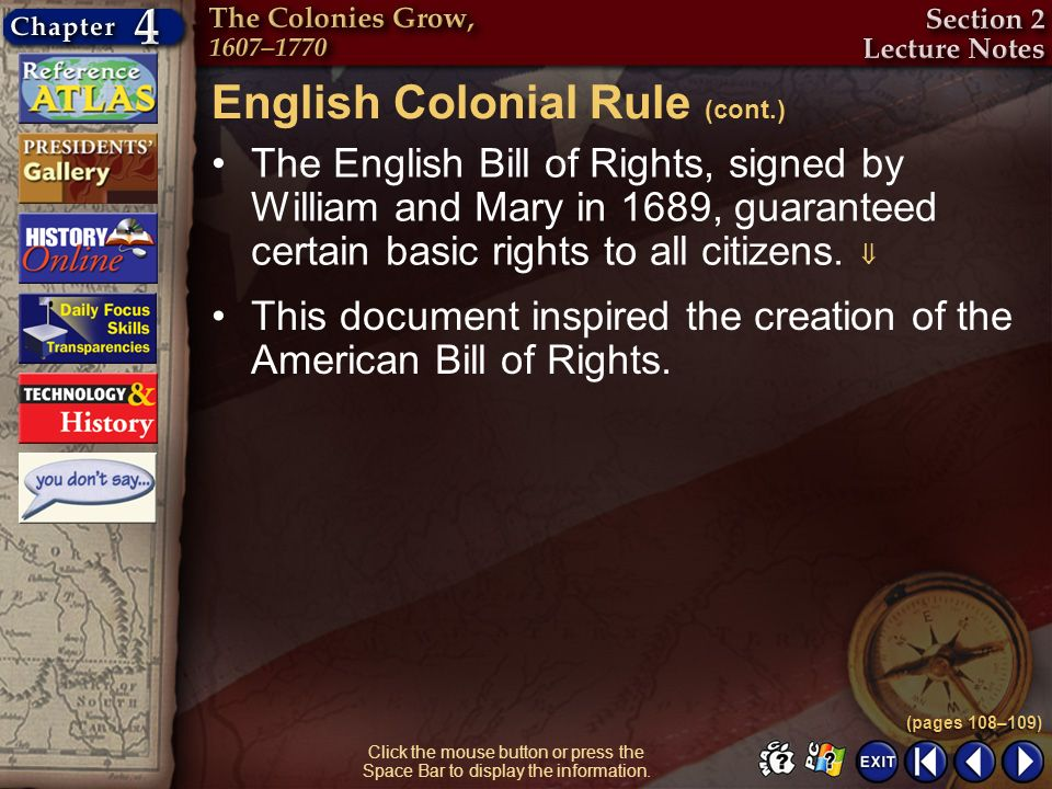 English Colonial Rule (cont.)