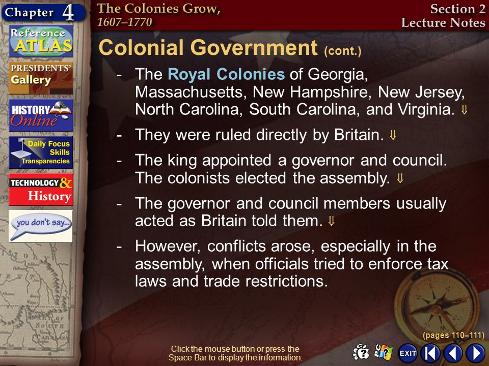 Colonial Government (cont.)