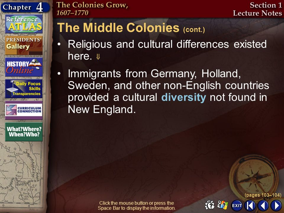 The Middle Colonies (cont.)