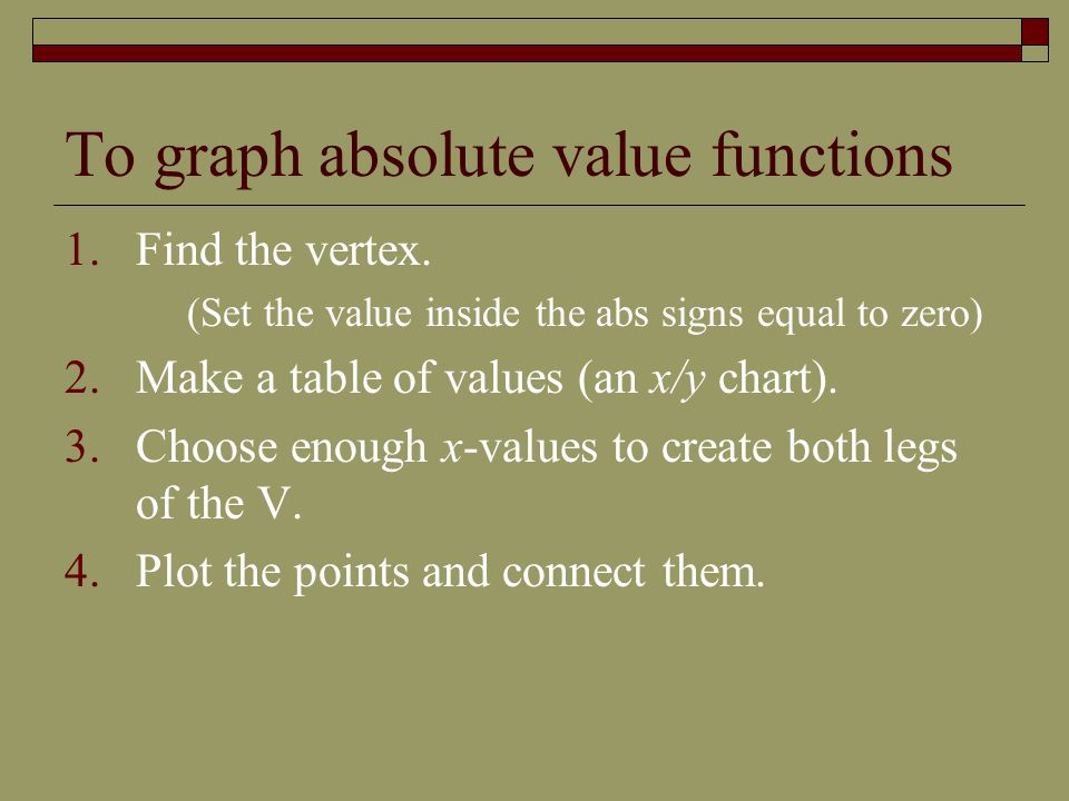 To graph absolute value functions