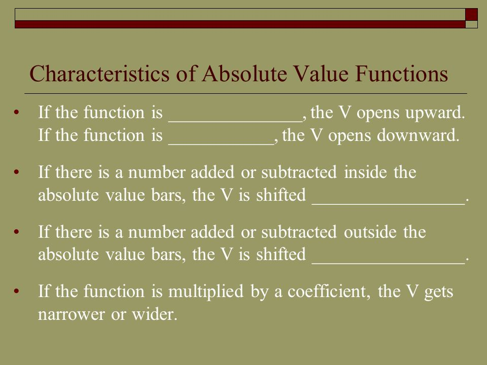 Characteristics of Absolute Value Functions