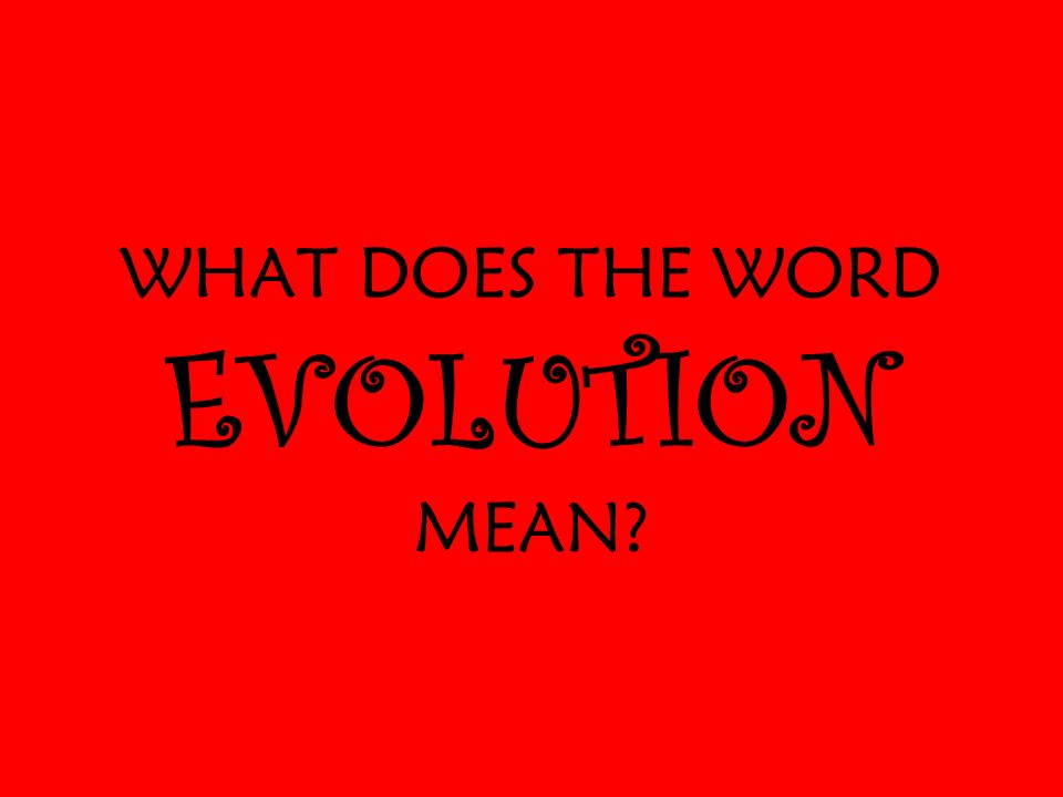 WHAT DOES THE WORD EVOLUTION MEAN