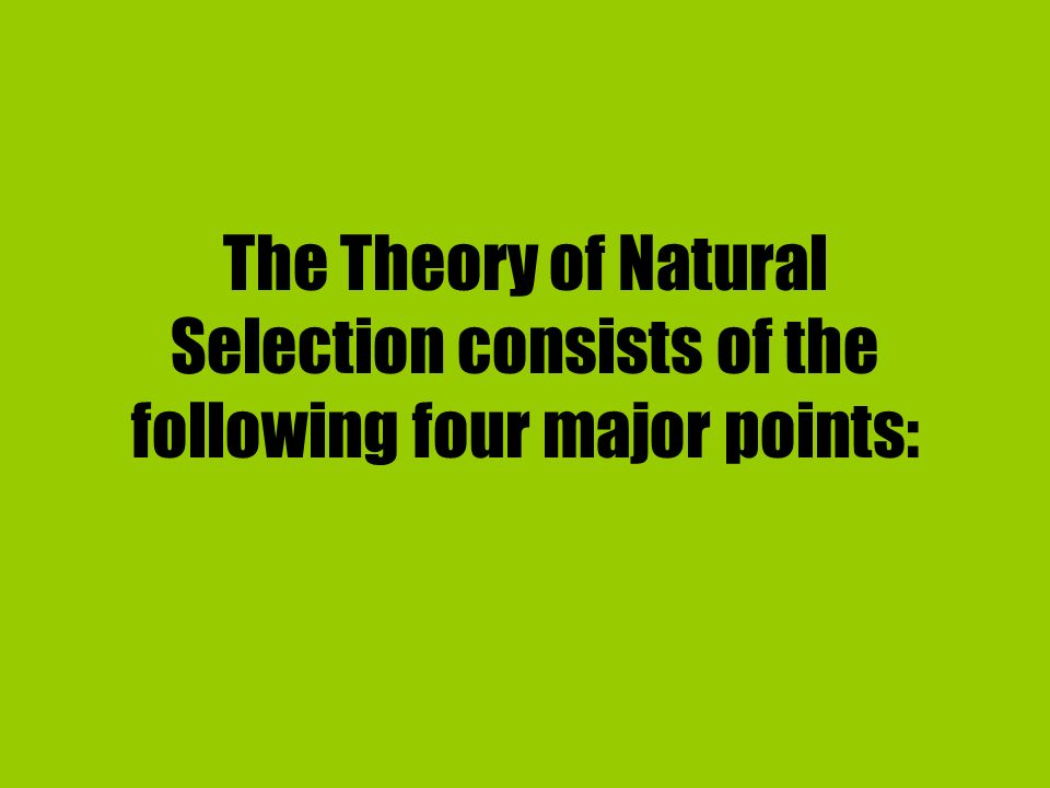 The Theory of Natural Selection consists of the following four major points: