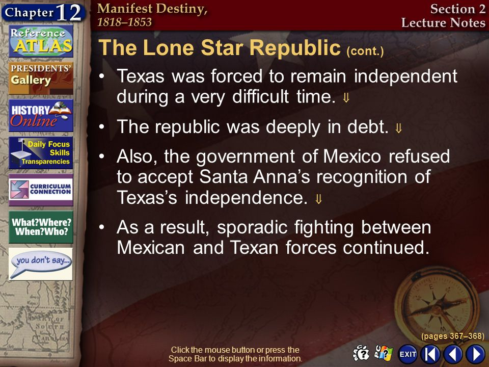 The Lone Star Republic (cont.)