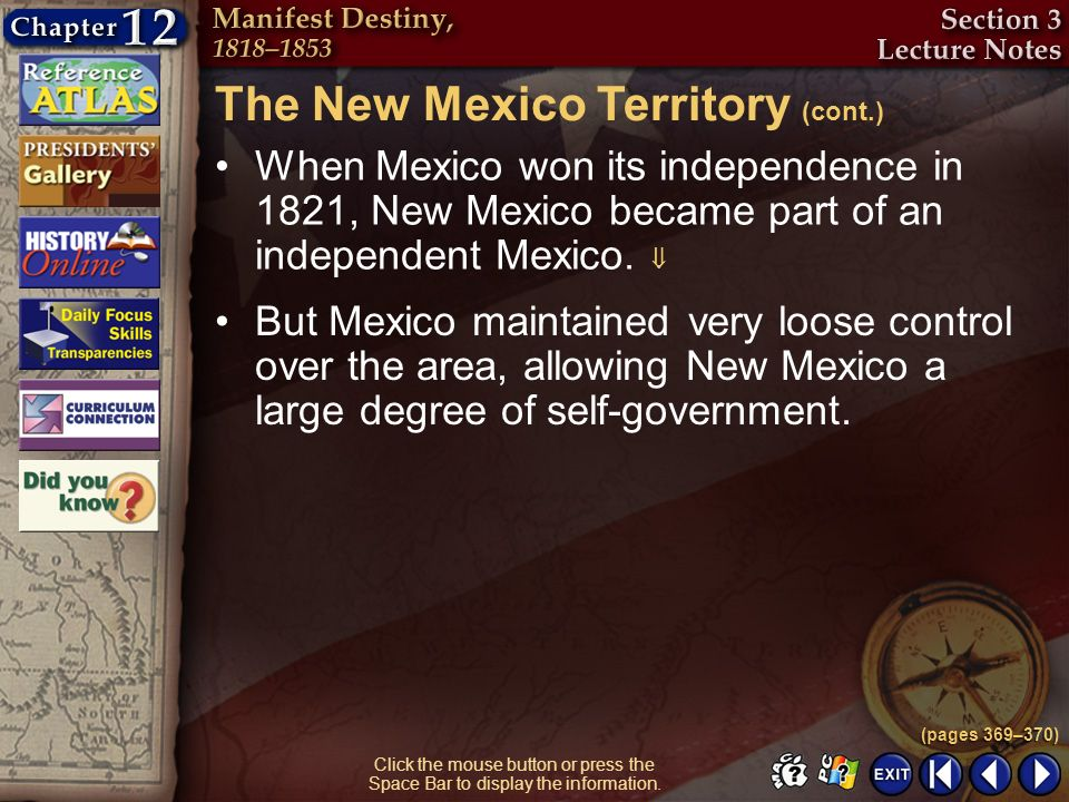 The New Mexico Territory (cont.)