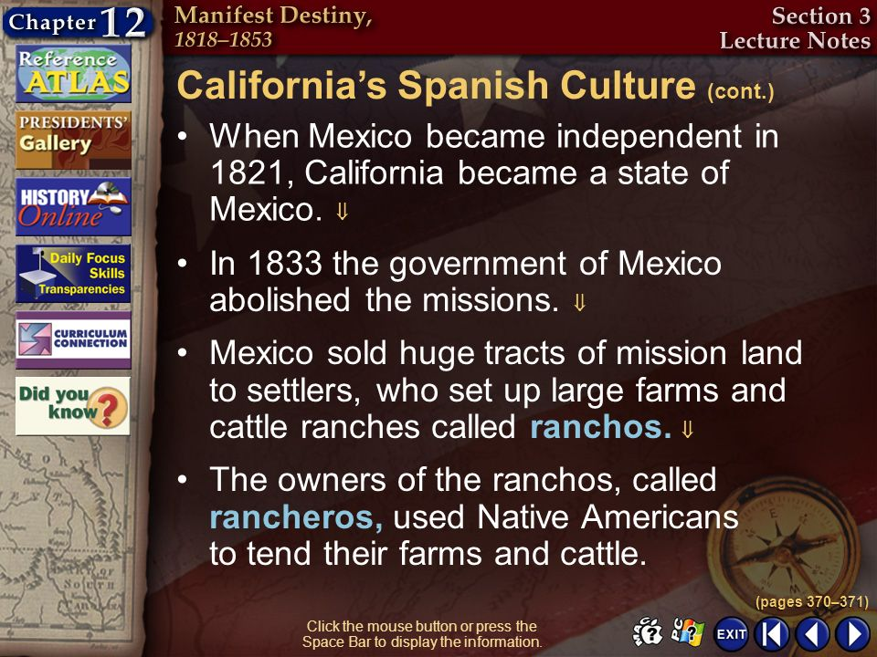 California's Spanish Culture (cont.)