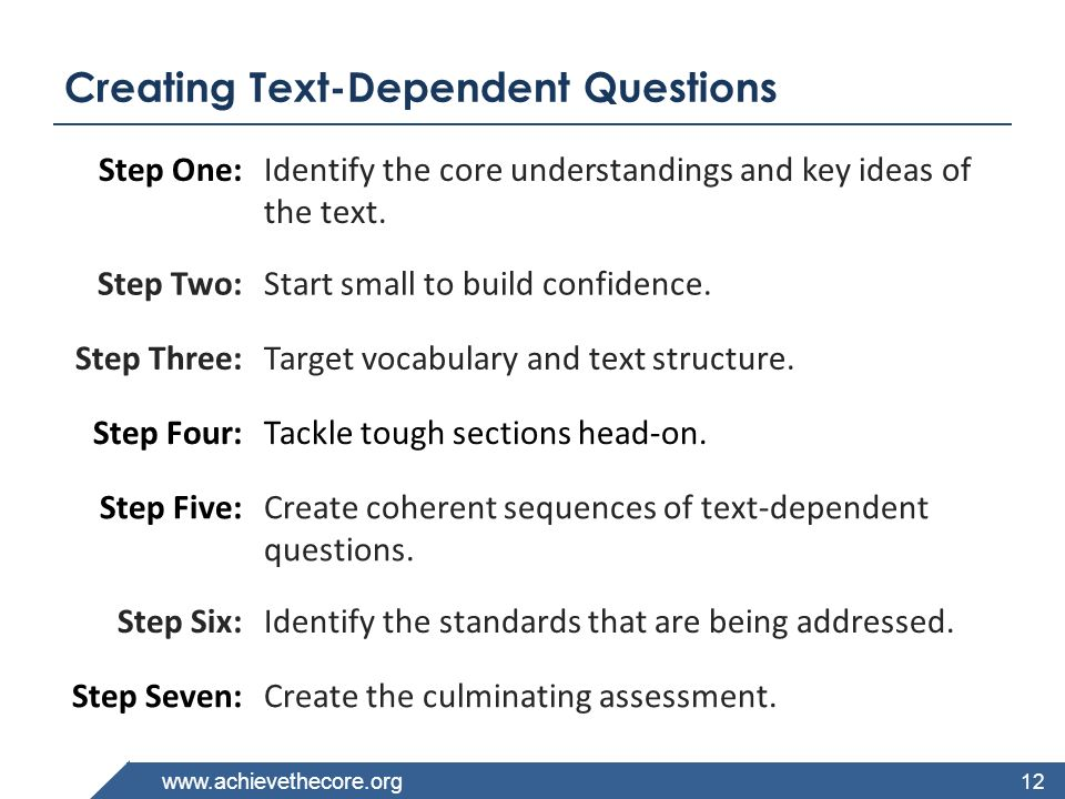 Creating Text-Dependent Questions
