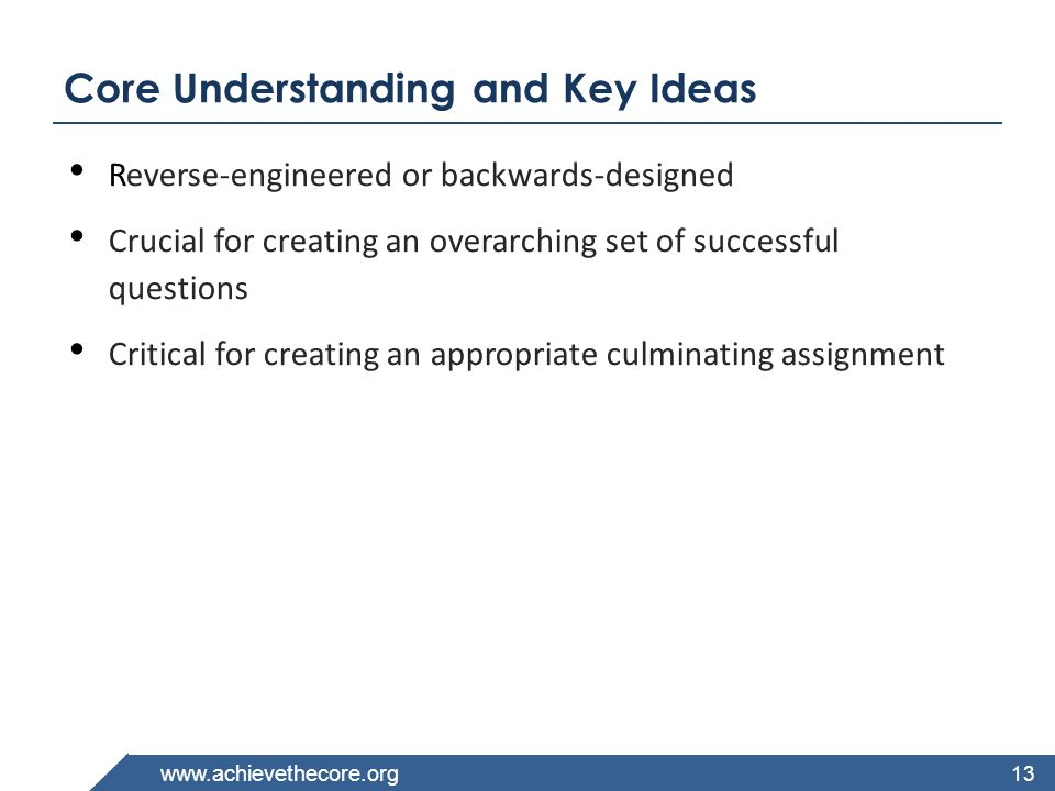 Core Understanding and Key Ideas