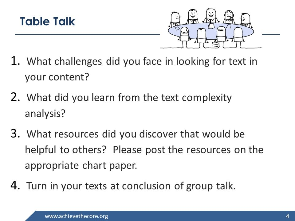 Table Talk What challenges did you face in looking for text in your content What did you learn from the text complexity analysis