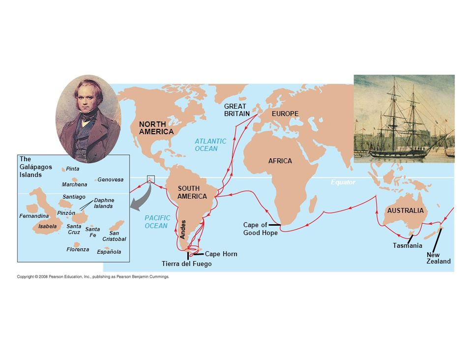 Fig. 22-5 Figure 22.5 The voyage of HMS Beagle