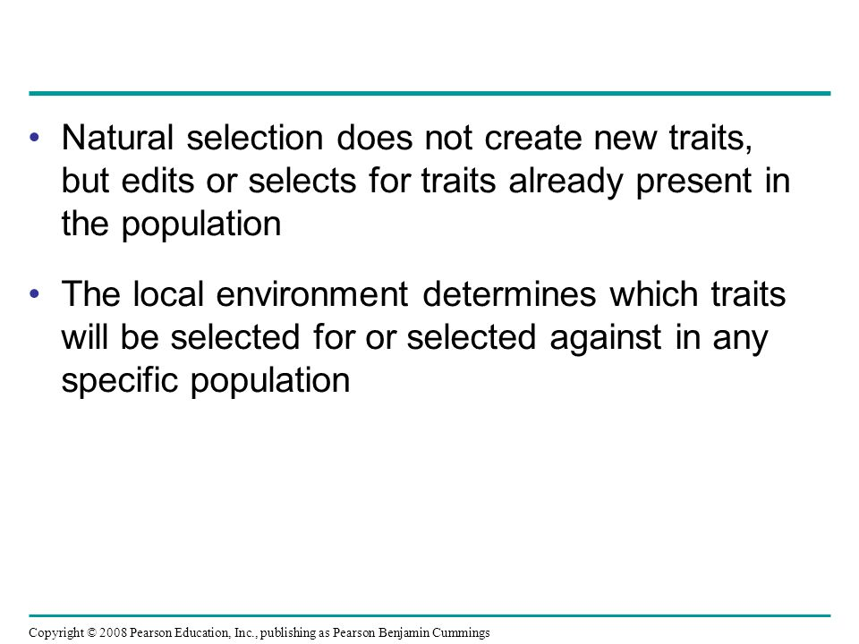 Natural selection does not create new traits, but edits or selects for traits already present in the population