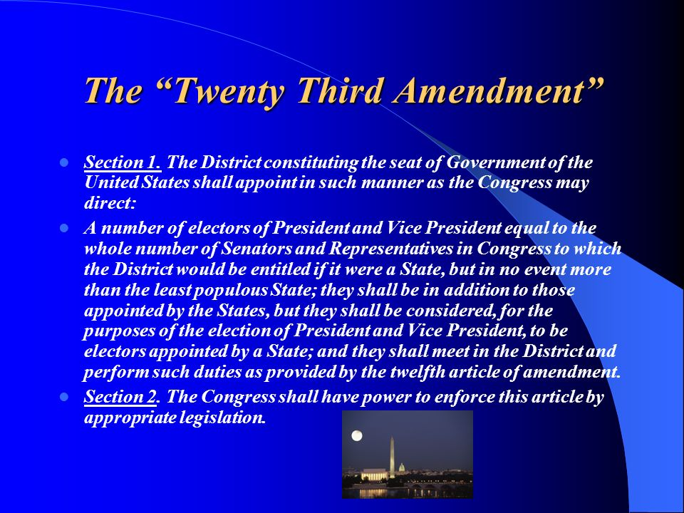 The Twenty Third Amendment