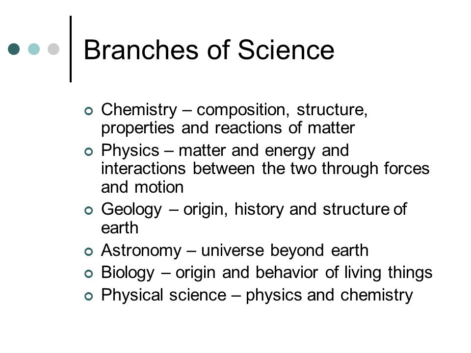 Branches of Science Chemistry – composition, structure, properties and reactions of matter.