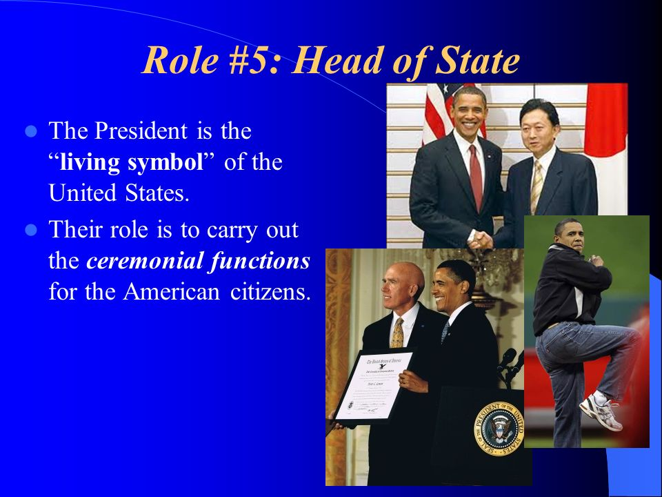 Role #5: Head of State The President is the living symbol of the United States.