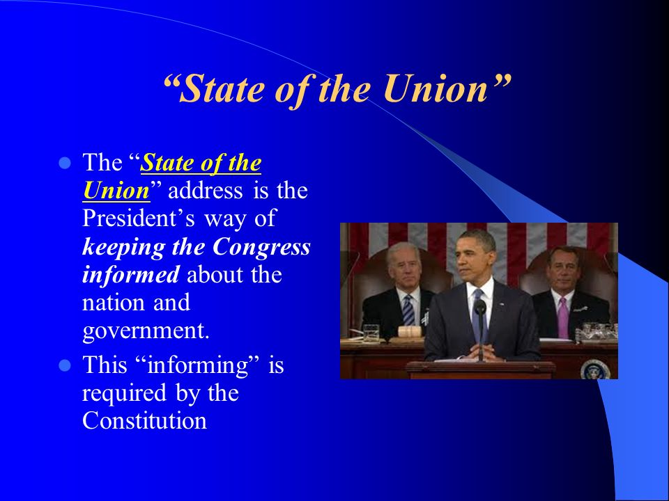 State of the Union The State of the Union address is the President's way of keeping the Congress informed about the nation and government.