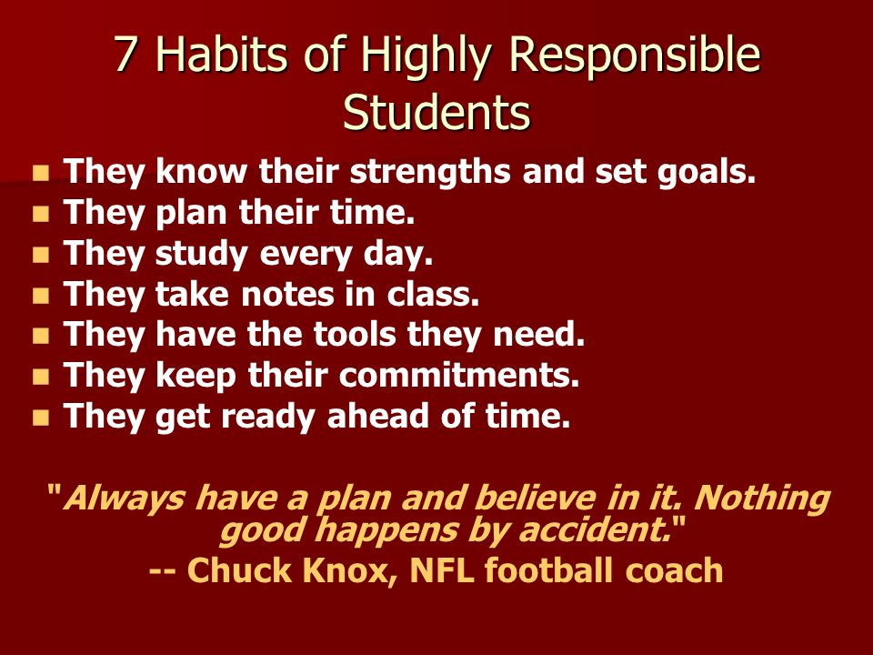 7 Habits of Highly Responsible Students