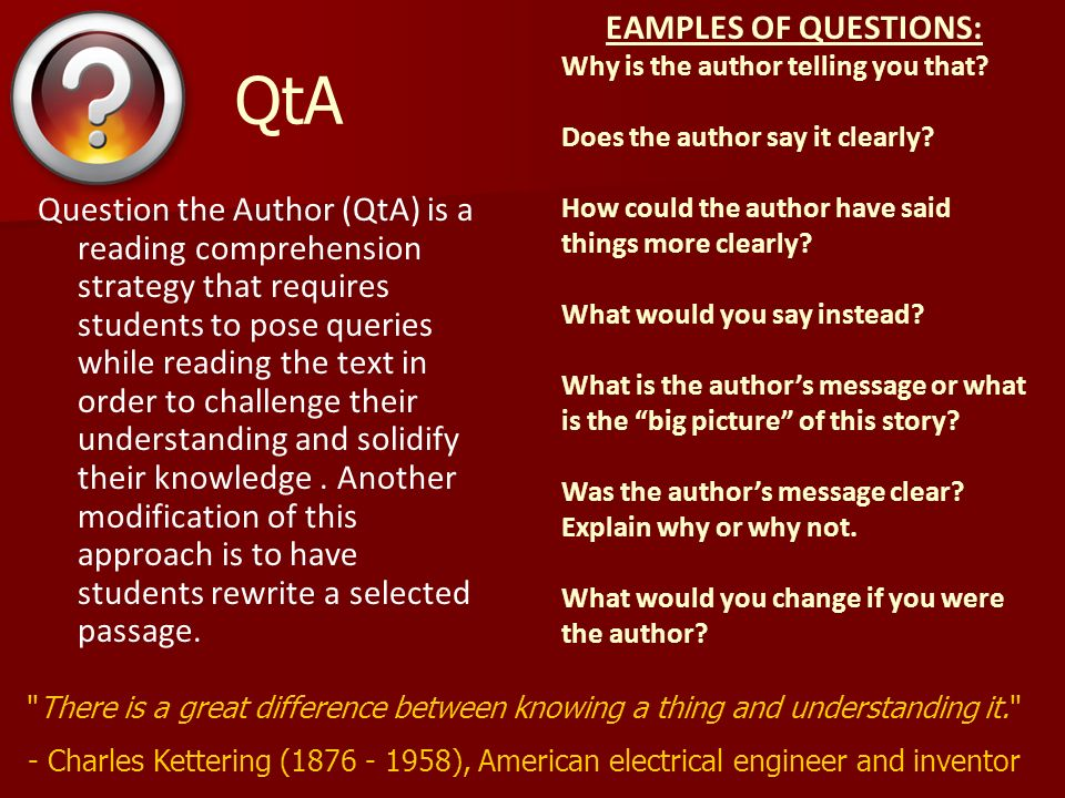 QtA EAMPLES OF QUESTIONS:
