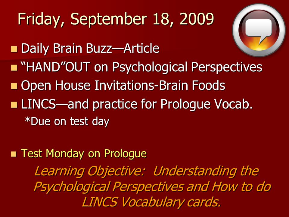 Friday, September 18, 2009 Daily Brain Buzz—Article