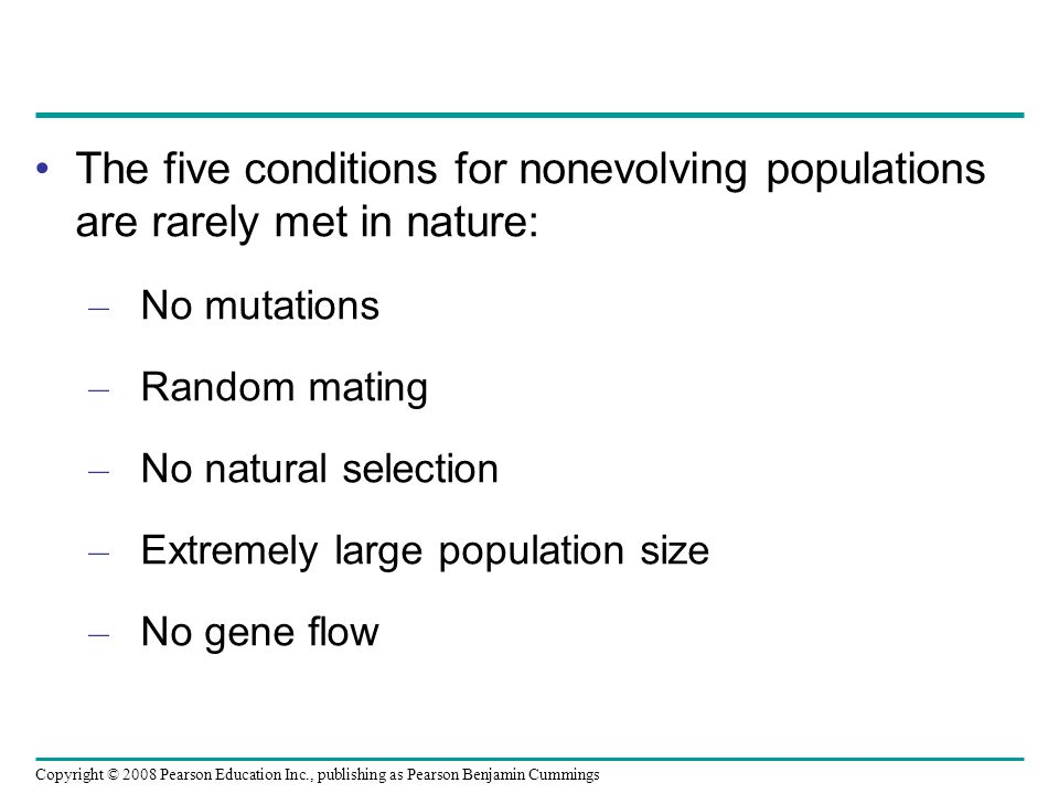 The five conditions for nonevolving populations are rarely met in nature: