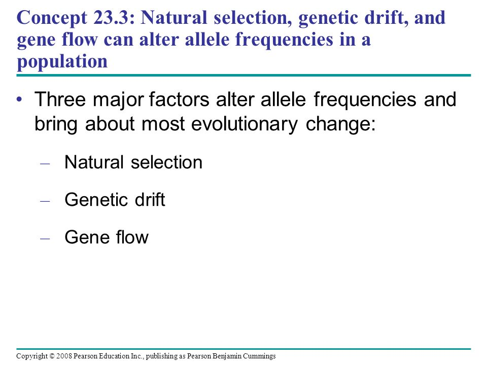 Concept 23.3: Natural selection, genetic drift, and gene flow can alter allele frequencies in a population