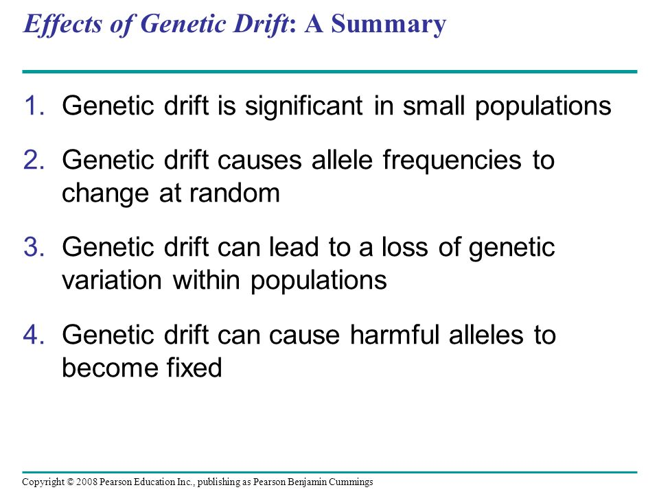 Effects of Genetic Drift: A Summary