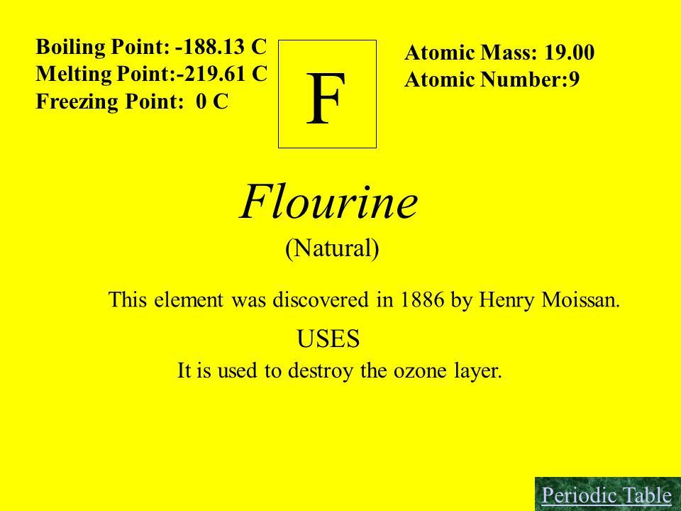 F Flourine (Natural) USES Boiling Point: -188.13 C Atomic Mass: 19.00