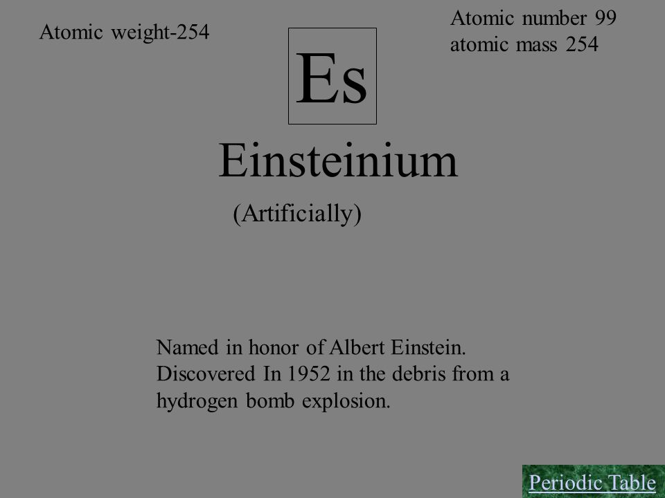 Es Einsteinium (Artificially) Atomic number 99 Atomic weight-254