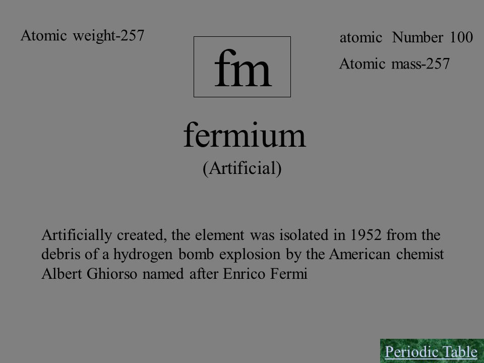 fm fermium (Artificial) Atomic weight-257 atomic Number 100