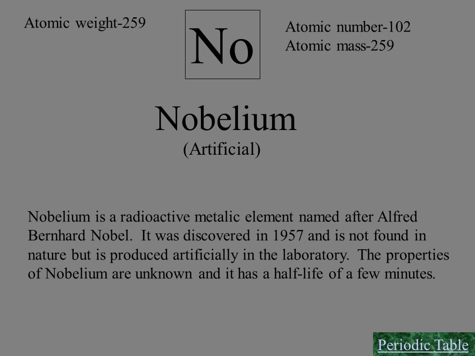 No Nobelium (Artificial) Atomic weight-259 Atomic number-102