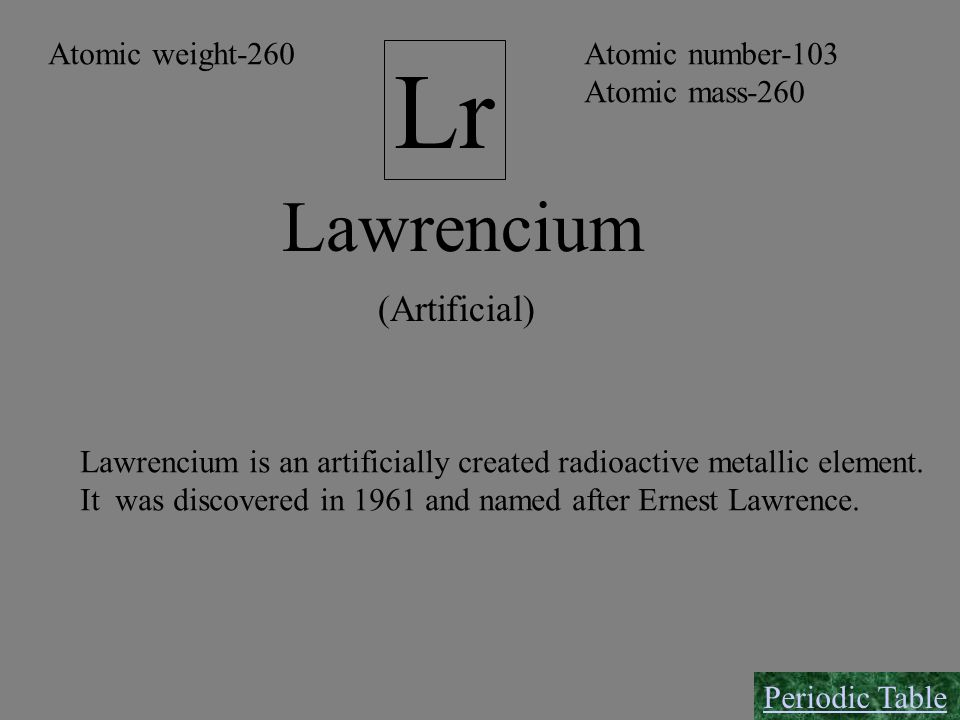 Lr Lawrencium (Artificial) Atomic weight-260 Atomic number-103