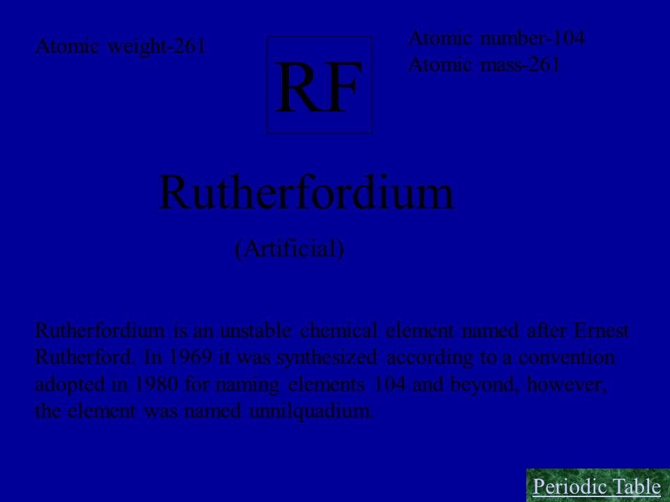 RF Rutherfordium (Artificial) Atomic number-104 Atomic weight-261