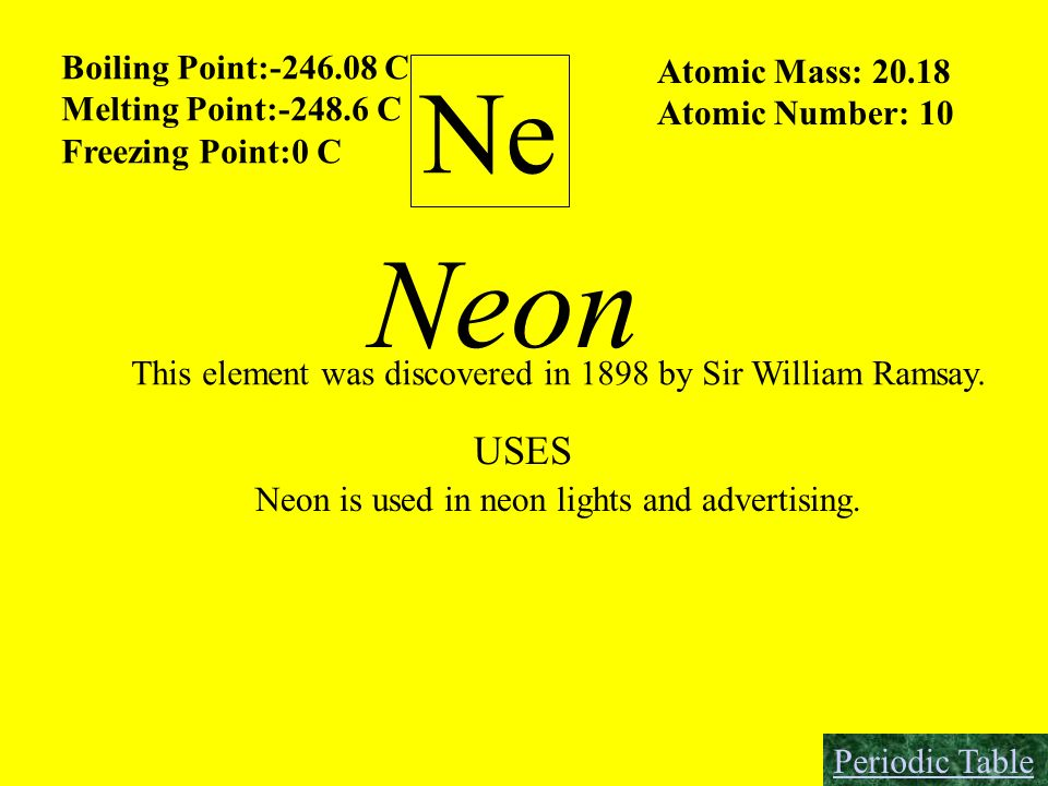 Neon Ne USES Boiling Point:-246.08 C Atomic Mass: 20.18
