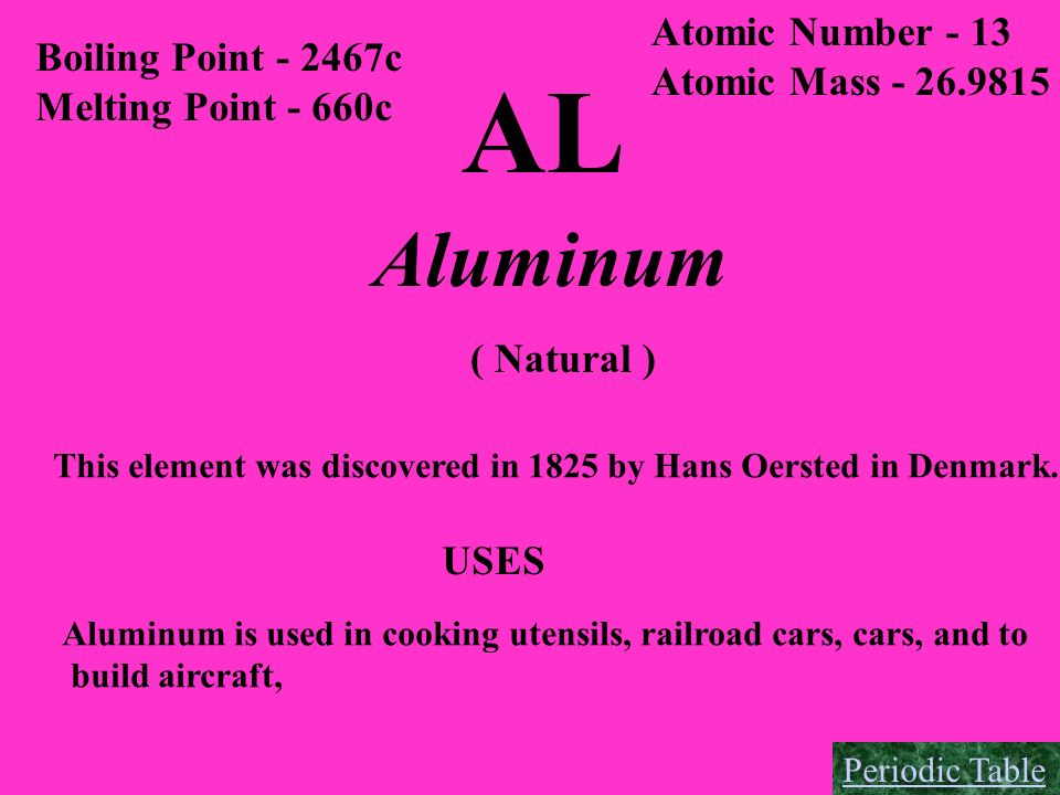 AL Aluminum Atomic Number - 13 Boiling Point - 2467c