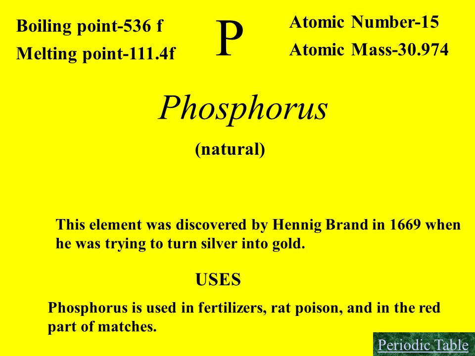 P Phosphorus Atomic Number-15 Boiling point-536 f Atomic Mass-30.974