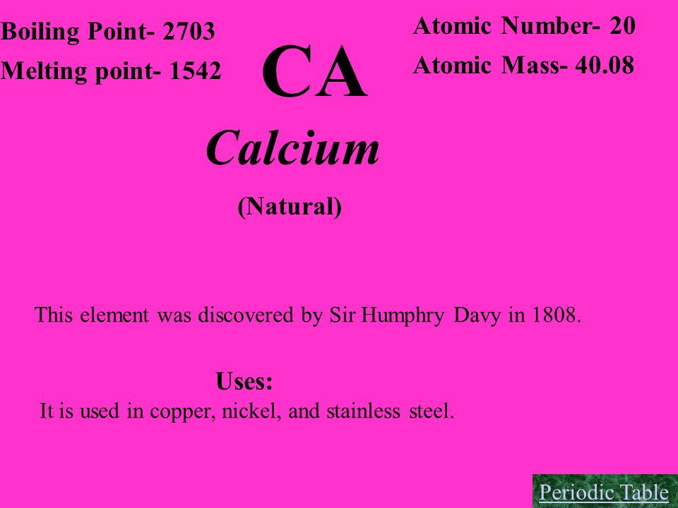 CA Calcium Atomic Number- 20 Boiling Point- 2703 Atomic Mass- 40.08