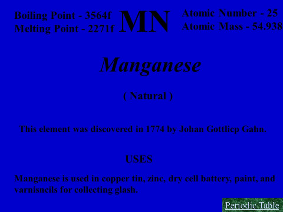 MN Manganese Atomic Number - 25 Boiling Point - 3564f
